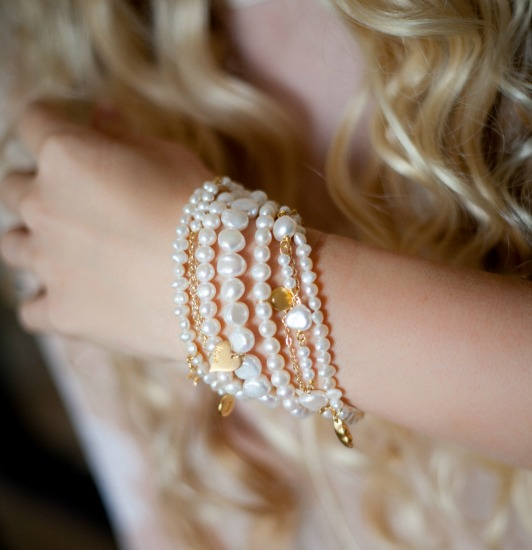 Amira Pearl and Gold Cuff Bracelet