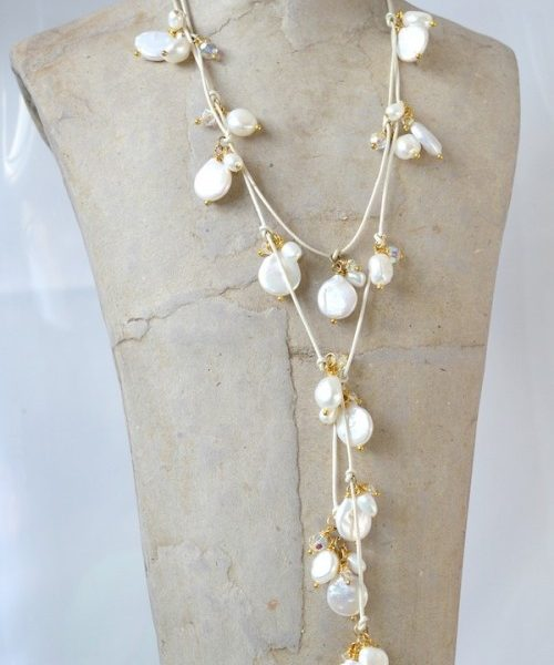 Freshwater coin pearl and leather lariat, pearl bridal necklace, pearl lariat, lariat style necklace, bridal jewellery, pearl bridal jewellery, mother of the bride jewellery, mother of the bride necklace, pearl jewellery, bridal accessories