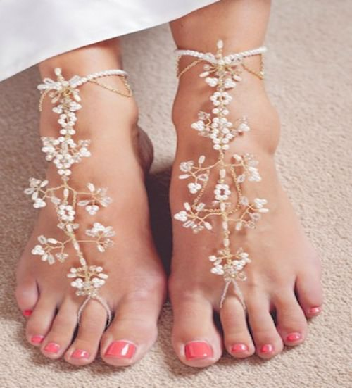 Amira barefoot bridal sandals, bridal jewellery, foot jewellery, bridal accessories, bridal foot jewellery