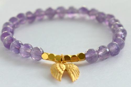 Double angel wing bracelet, angel wing bracelet, gold bracelet, amethyst bracelet, angel bracelet, mothers day gift, mothers day bracelet, womens bracelet, gemstone bracelet, gemstone jewellery