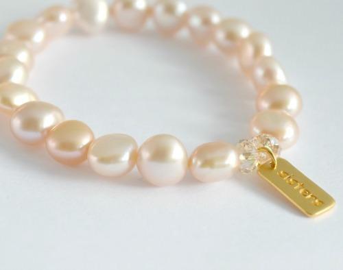 Freshwater pearl 24k gold vermeil sisters bracelet, pearl bracelet, 24k gold sisters bracelet, charm bracelet, pearl bracelet