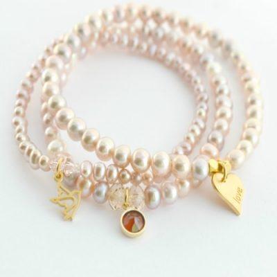 Sweetheart freshwater pearl stacking bracelets, pearl bracelet, pearl charm bracelet, stacking bracelet, bridal bracelet, pearl bridal bracelet, pearl bridesmaid bracelet, bridesmaid bracelet.