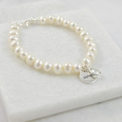 sterling silver sisters bracelet, bridesmaid bracelet, bridesmaids jewellery, pearl bracelet, pearl jewellery, gemstone jewellery, bridal accessories, bridesmaid gifts, bridesmaid gift, sister gift
