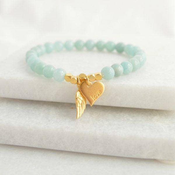 Angel of Love amazonite bracelet, gemstone bracelet, amazonite bracelet, bridesmaids gift, bridesmaids bracelet, bridesmaids jewellery, mothers day gift, mothers day bracelet, bracelet, gemstone jewellery, bridal jewellery
