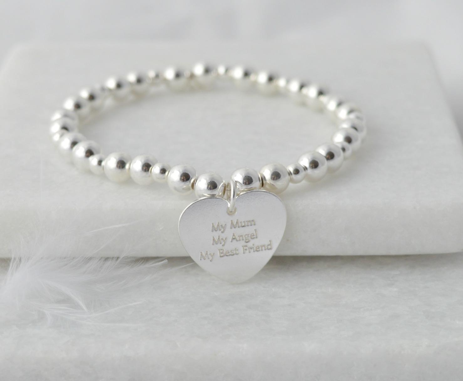 my mum, my angel, my best friend sterling silver bracelet