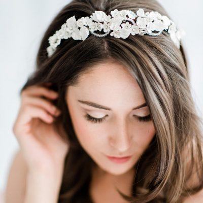 bridal headpiece, floral headpiece, statement headpiece, white headpiece, silver headpiece, statement bridal headpiece, bridal hairband