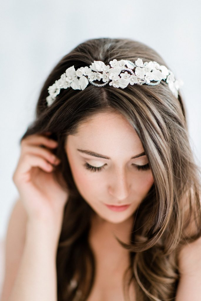 bridal headpiece, floral headpiece, statement headpiece, white headpiece, silver headpiece, statement bridal headpiece, bridal hairband