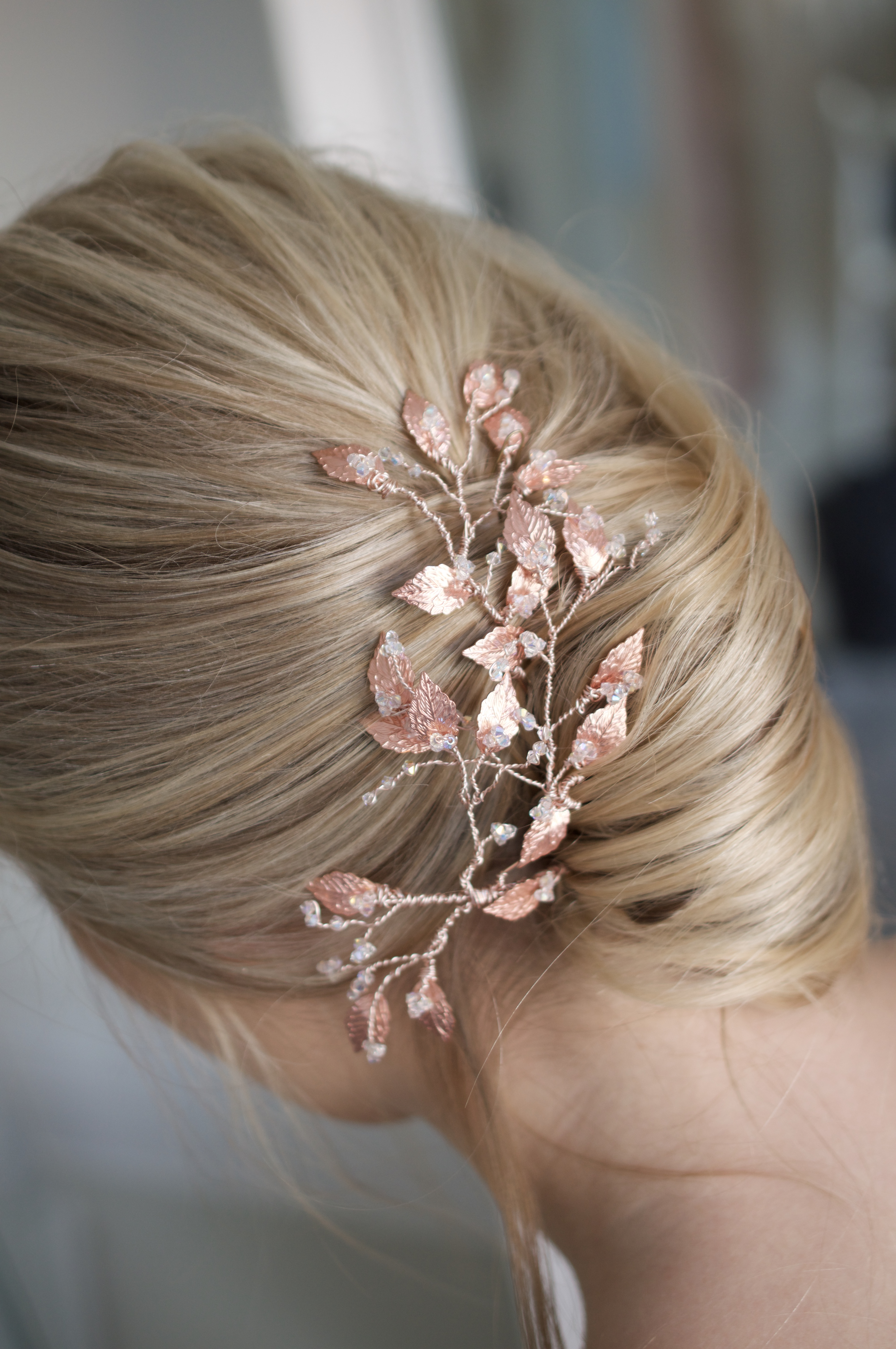 rose gold hair pins, rose gold hairpins, wedding hairpins, wedding hair pins, bridal hair accessories, wedding hair accessories, bridal headpiece, wedding headpiece, bohemian bride, boho bride, outdoor bride, destination bride, foliage hair pins