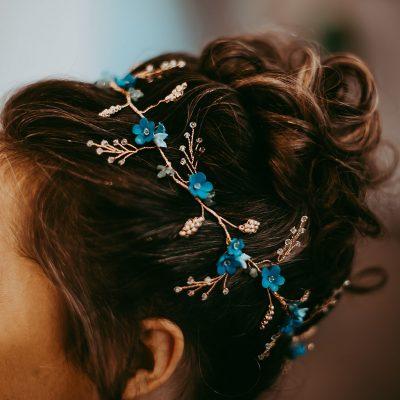 bridal hair vine, bridal hair accessories, custom made accessories, wedding hair accessories, Forget-me-not bridal hair vine , something blue, rose gold hair accessories